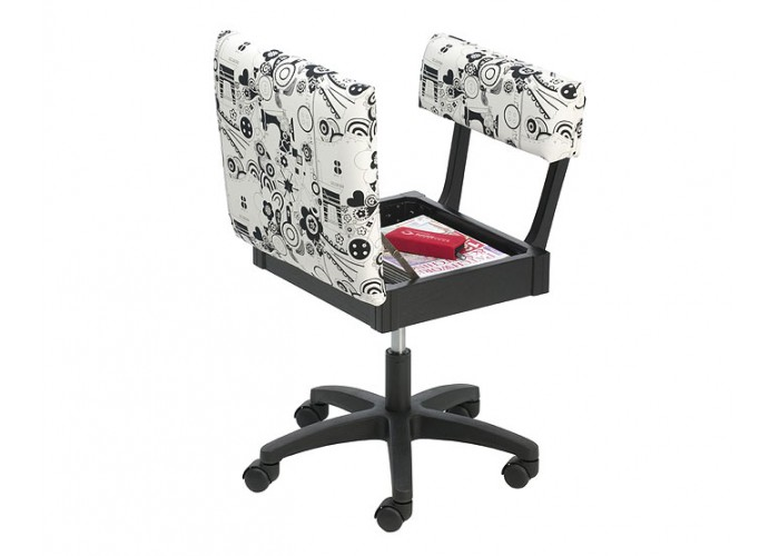 Tremendous Horn Gaslift Black White Sewing Chair Open Lge 700500 Sew Theyellowbook Wood Chair Design Ideas Theyellowbookinfo